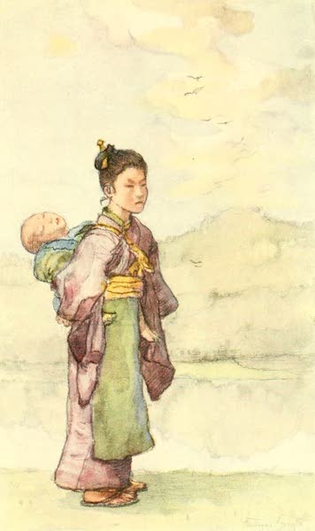 Old and New Japan - Babies are carried on the Backs of Sisters or little Nurse maids (1907)