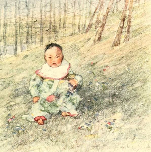 Old and New Japan - Baby often explores the Greensward of the Park or Garden (1907)