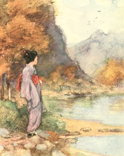 Old and New Japan - A Dainty Figure standing by some calm Lake (1907)