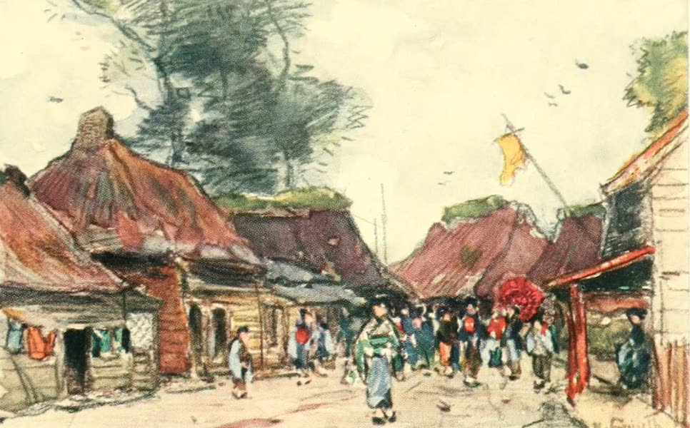 Old and New Japan - A Village Street at Festival Time  (1907)