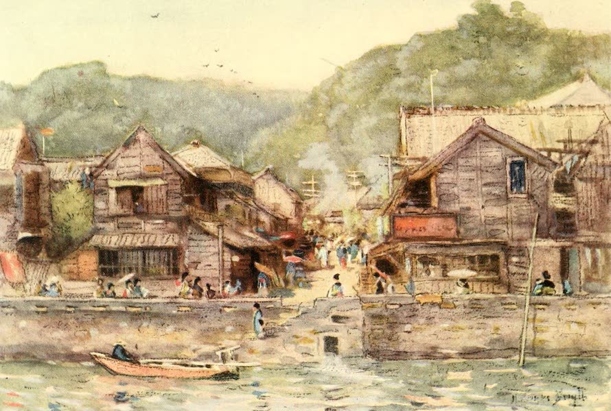 Old and New Japan - In Yokohama there is a strange blending of the Old with the New. But the Picturesque still abounds by the Water-side (1907)