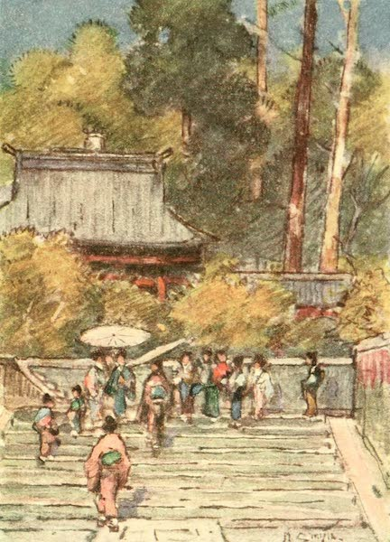 Old and New Japan - The Steps of the Temples of the large Towns are worn by the footsteps of many Generations (1907)