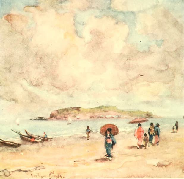 Old and New Japan - A stretch of Shore which often forms a beautiful natural Promenade (1907)