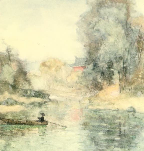 Old and New Japan - A secluded Garden by a River Bank (1907)