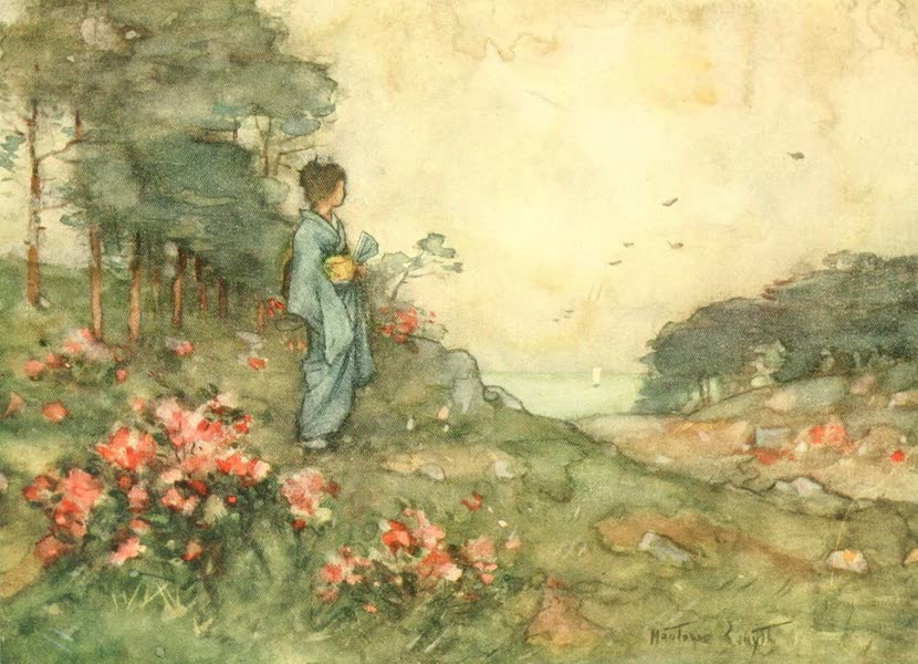 """Old and New Japan - """"Then there are the scarlet, pink, and white Azaleas ... which glint at one on the hill-sides amidst the trees ..."""" (1907)"""