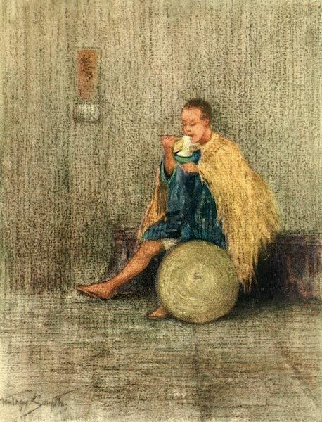Old and New Japan - A Kurumaya eating his Dinner, and wearing a Rain Coat (1907)