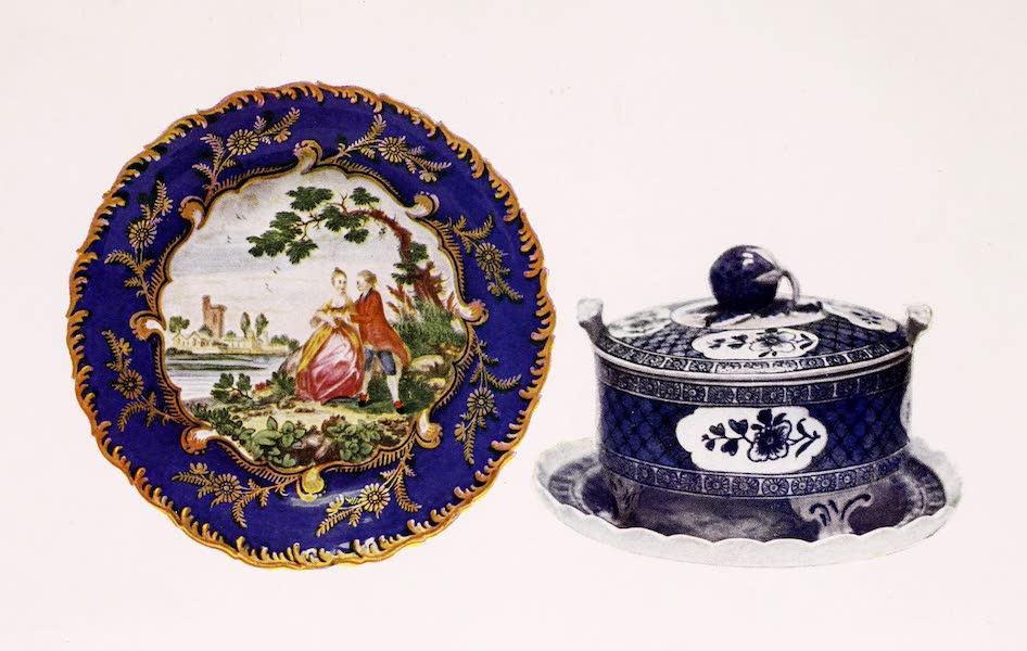Old Bow China - A Dish with Watteau-like Figures and a Blue and White Butter Dish (1909)