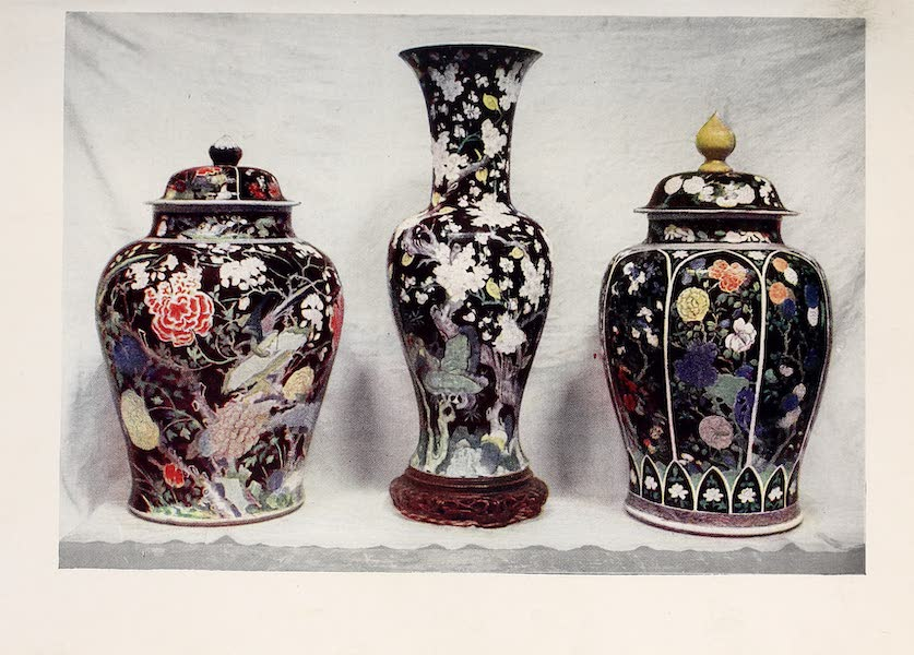 Old Chinese Porcelain - Kang-he Famille Noire, painted with Five Colours (1909)