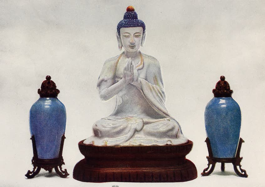 Old Chinese Porcelain - Buddhistic Figure and Two Blue Vases (1909)