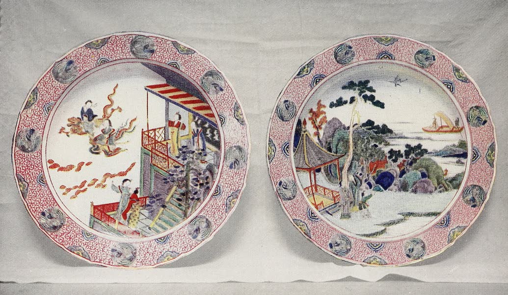 Old Chinese Porcelain - Two Enamelled and Coloured Plates (1909)