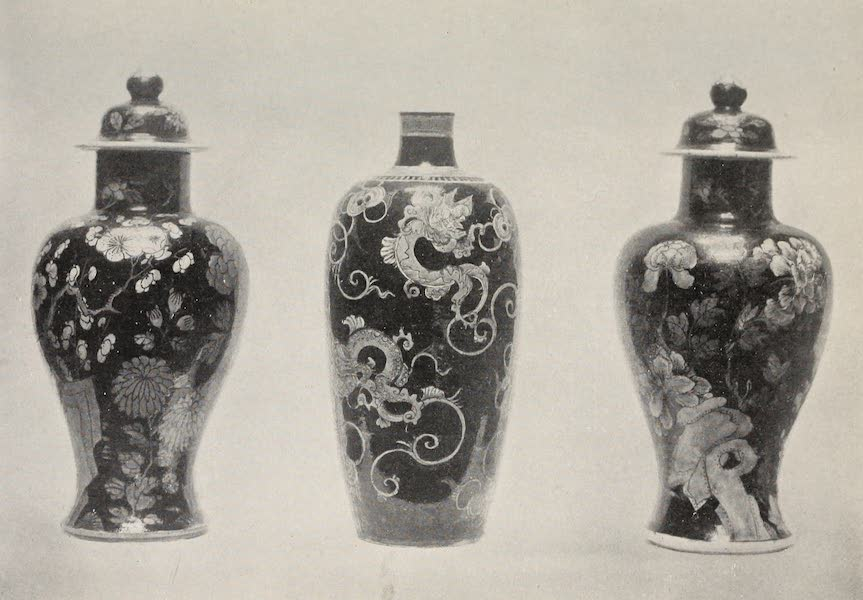 Old Chinese Porcelain - Two Famille Noire Jars with Covers and a Vase (1909)