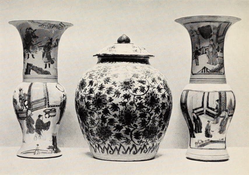 Old Chinese Porcelain - Two Kang-he Trumpet-shaped Vases and Ming Vase and Cover (1909)