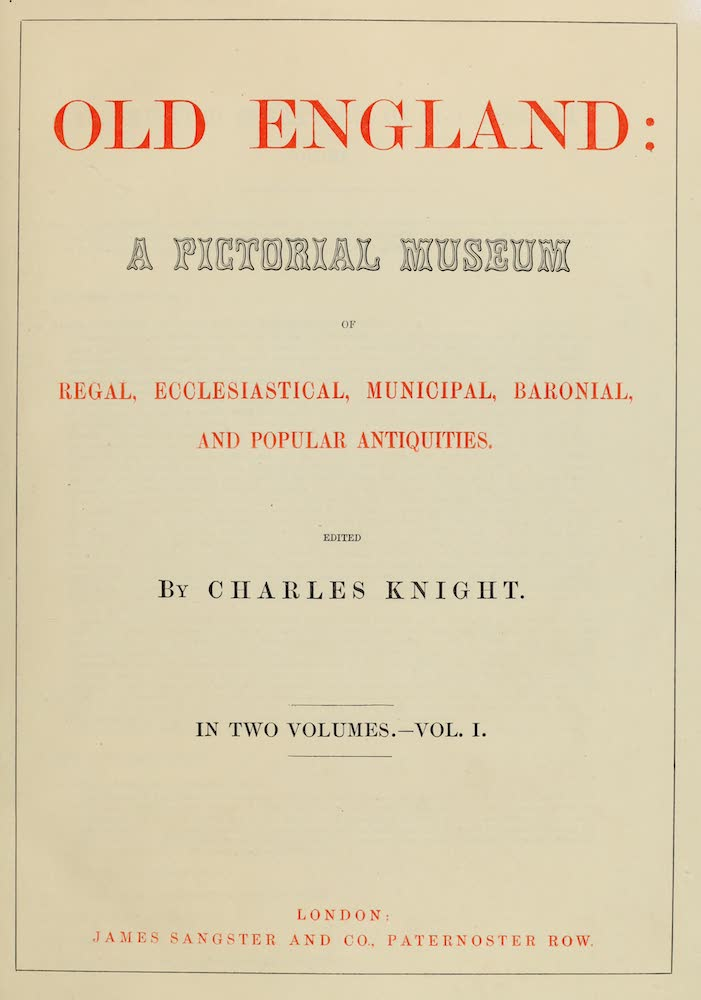 Old England Vol. 1 - Title Page (1845)