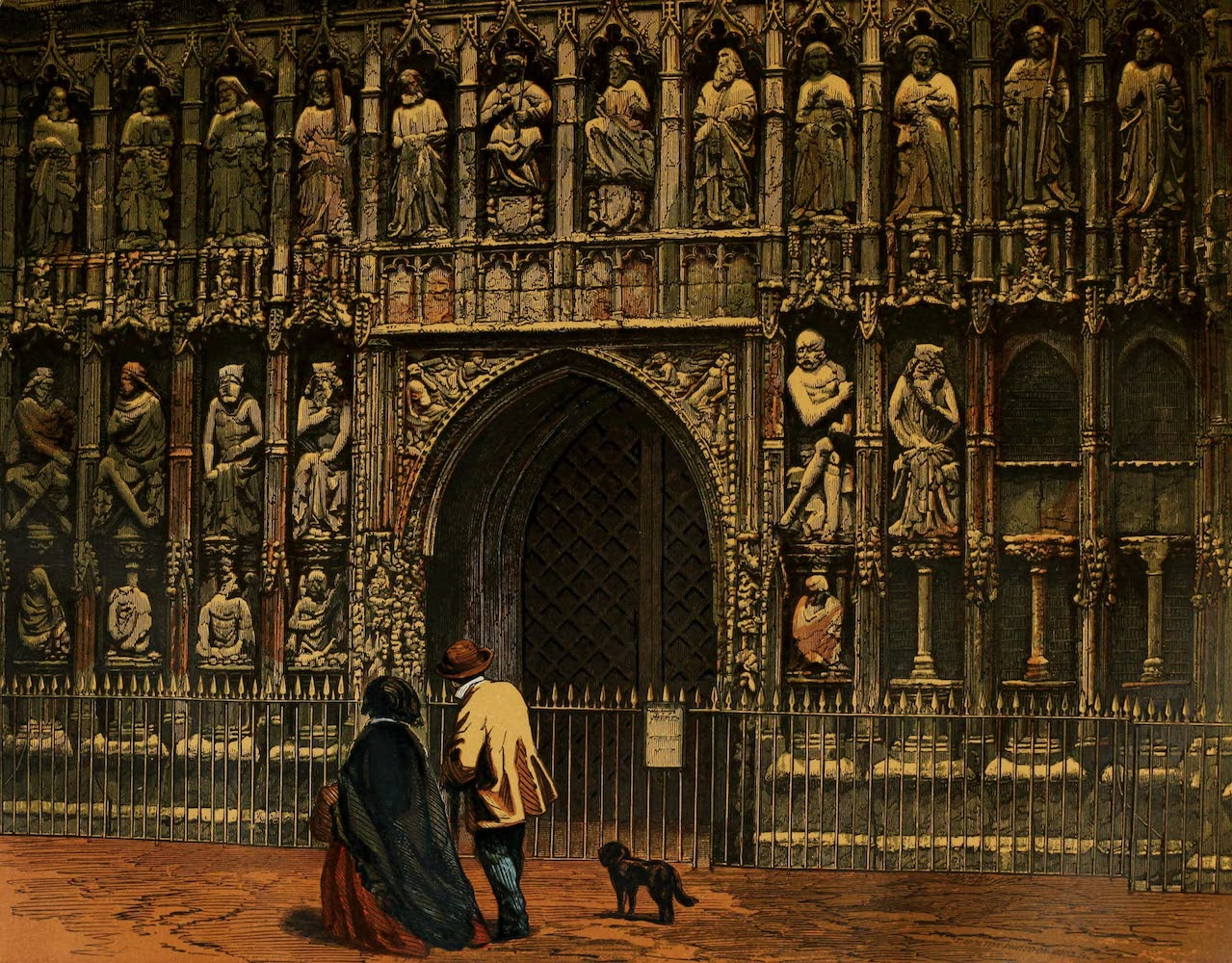 Old England Vol. 1 - Screen at the West Front, Exeter Cathedral (1845)