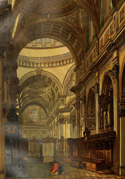 Old England Vol. 2 - St. Pauls Cathedral Looking West (1845)