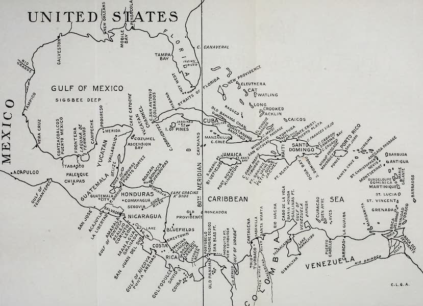 Old Panama and Castilla del Oro - Map of Central America and the West Indies (1911)