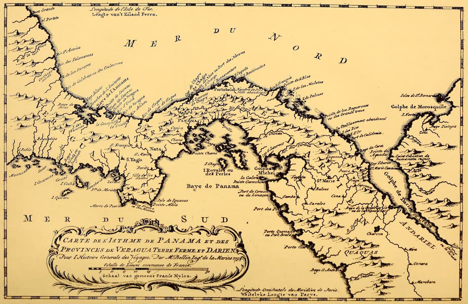 Old Panama and Castilla del Oro - Bellin's map of the Isthmus, 1754 (1911)