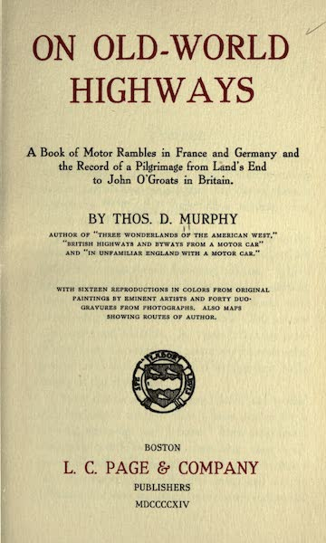 On Old-World Highways - Title Page (1914)