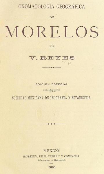 Onomatologia geografica de Morelos - Title Page (1888)