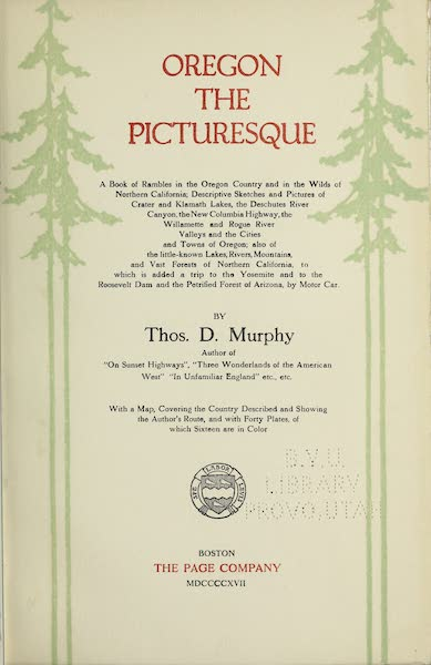 Oregon, the Picturesque - Title Page (1917)