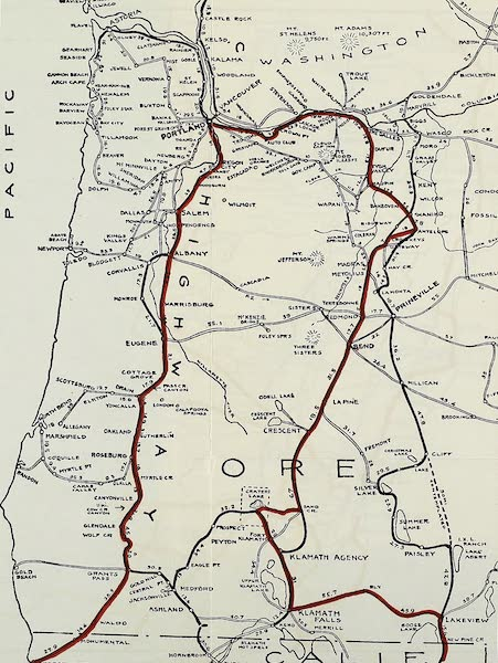 Oregon, the Picturesque - Map Showing Author's Route in Oregon (1917)