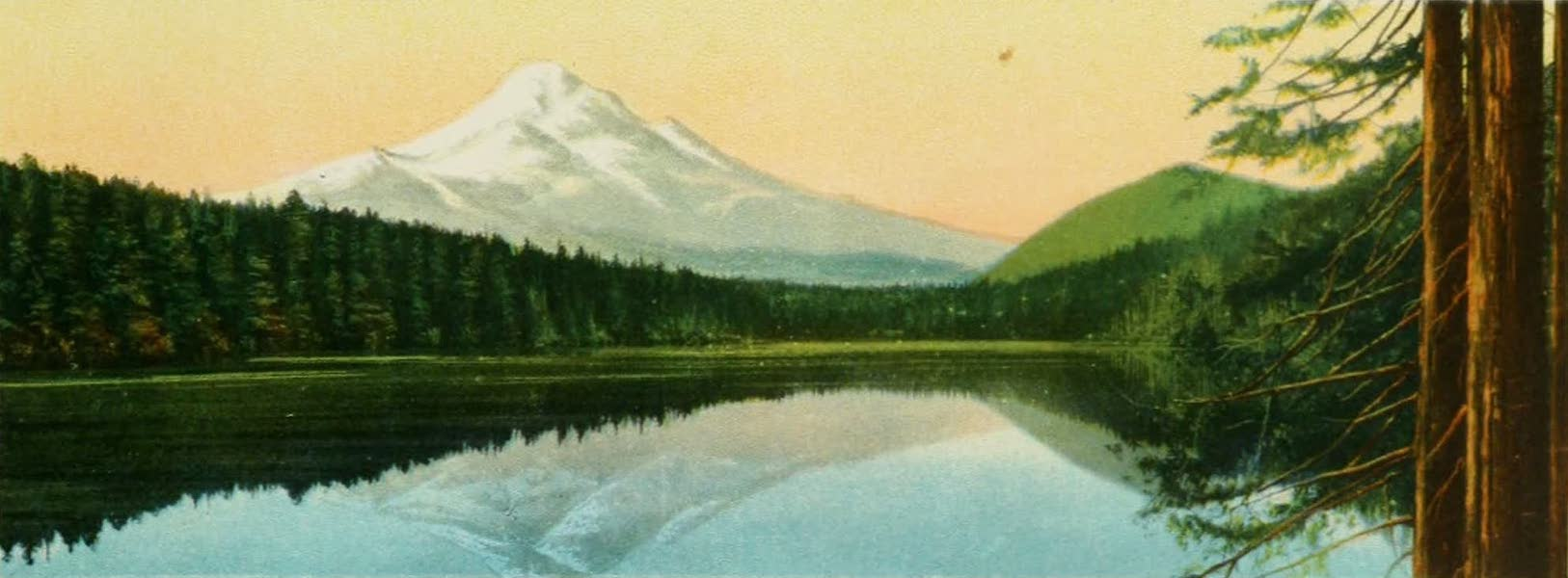 Oregon's Famous Columbia River Highway - Reflection of Mt. Hood in Lost Lake, Oregon (1920)