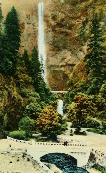 Oregon's Famous Columbia River Highway - Multnomah Falls from the Highway (1920)