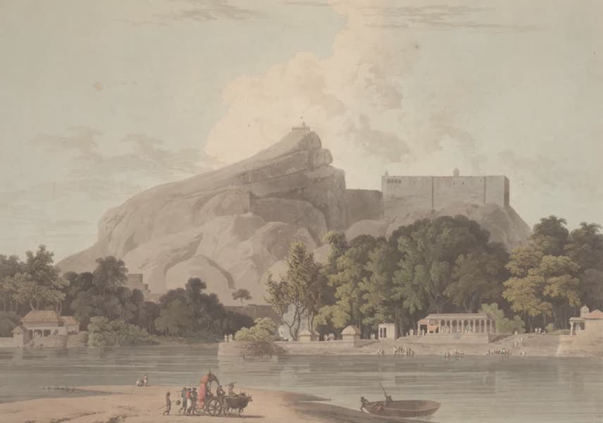 Oriental Scenery Vol. 2 - The Rock of Trichinopoly, taken on the River Cauvery (1797)