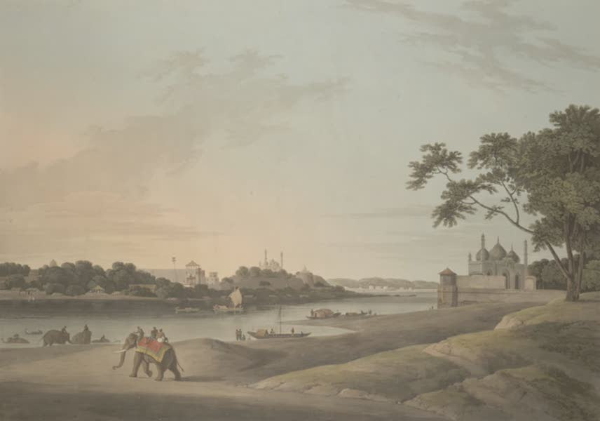 Oriental Scenery Vol. 3 - Lucnow taken from the opposite bank of the River Goomty (1802)