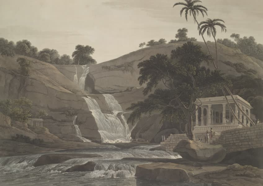 Oriental Scenery Vol. 4 - The waterfall at Courtallum in the Tinnevelly district (1804)