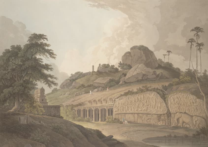 Oriental Scenery Vol. 5 - The entrance of an excavated Hindoo Temple, at Mavalipuram, on the coast of Coromandel (1808)