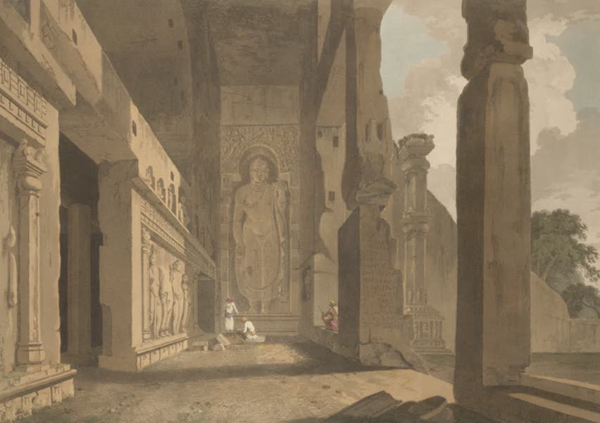 Oriental Scenery Vol. 5 - The portico of an excavated Temple on the island of Salsette (1808)