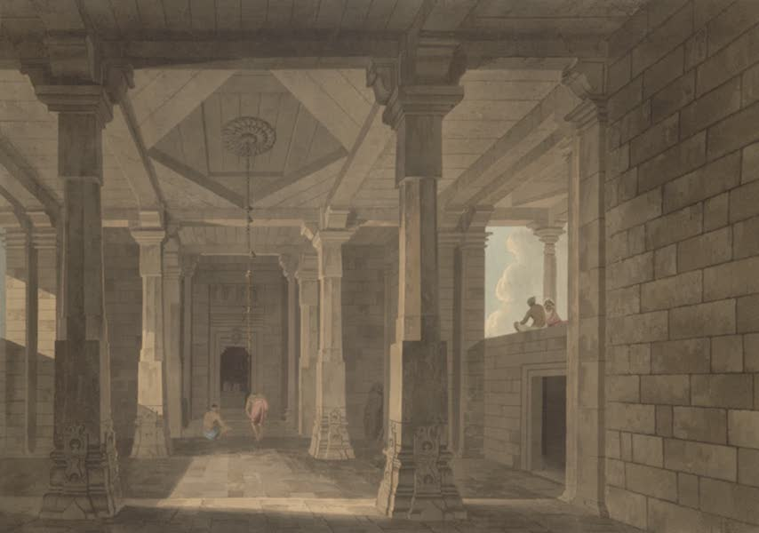 Oriental Scenery Vol. 5 - Part of the interior of an Hindoo Temple, at Deo, in Bahar (1808)