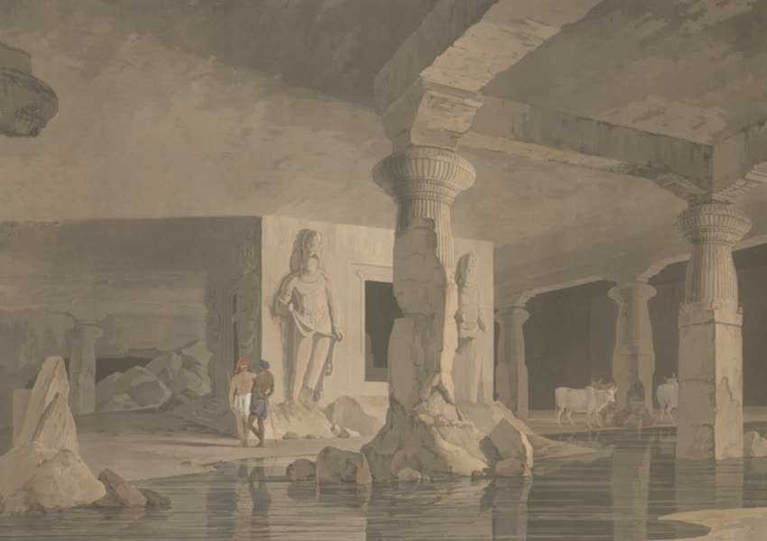 Oriental Scenery Vol. 5 - Part of the interior of the Elephanta (1808)