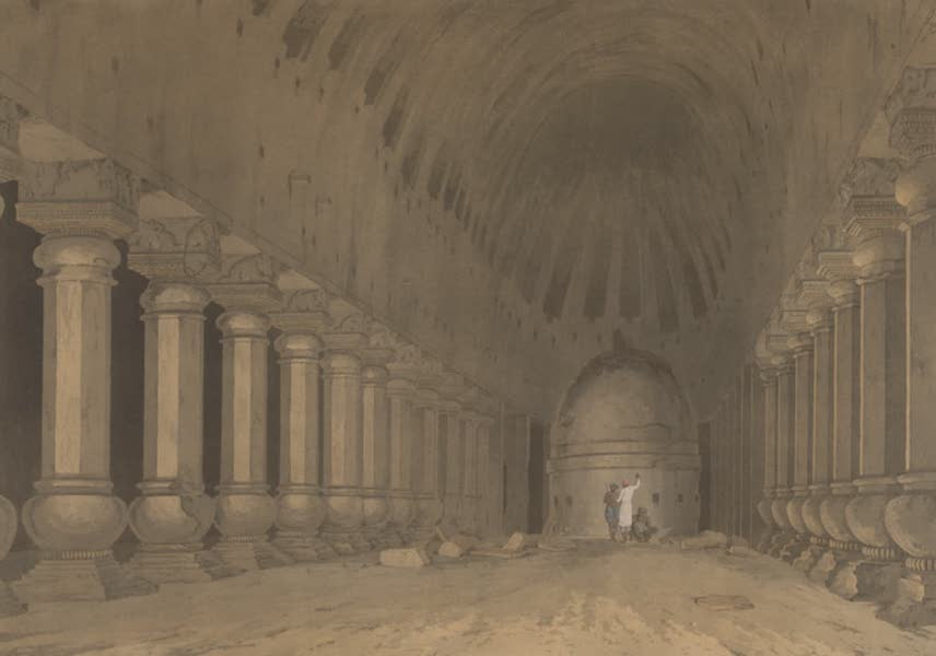 Oriental Scenery Vol. 5 - The interior of an excavated Hindoo Temple, on the Island of Salsette (1808)
