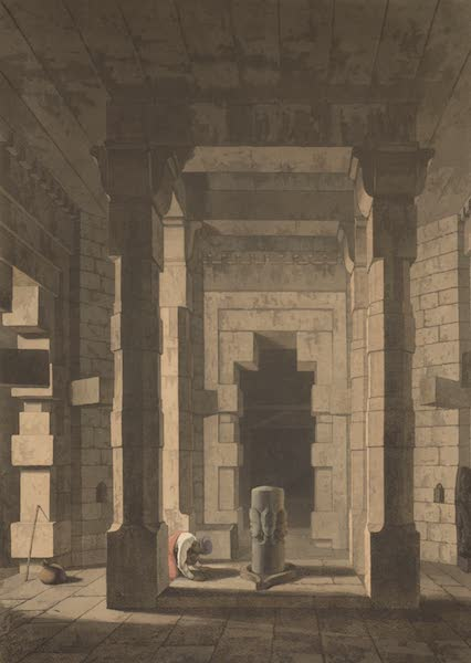 Oriental Scenery Vol. 5 - Interior of the Temple of Mandeswara near Chaynpore, Bahar (1808)