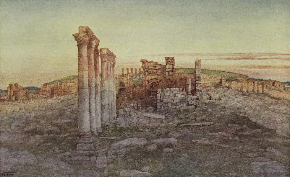 Out-of-Doors in the Holy Land - Ruins of Jerash, Looking West - Propylaeum and Temple Terrace (1908)