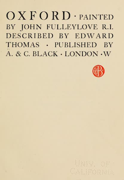 Oxford Painted and Described - Title Page (1903)