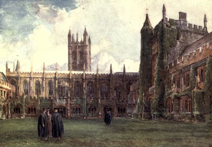 Oxford Painted and Described - The Cloisters, Magdalen College - Mr. John Fulleylove, R.I (1903)