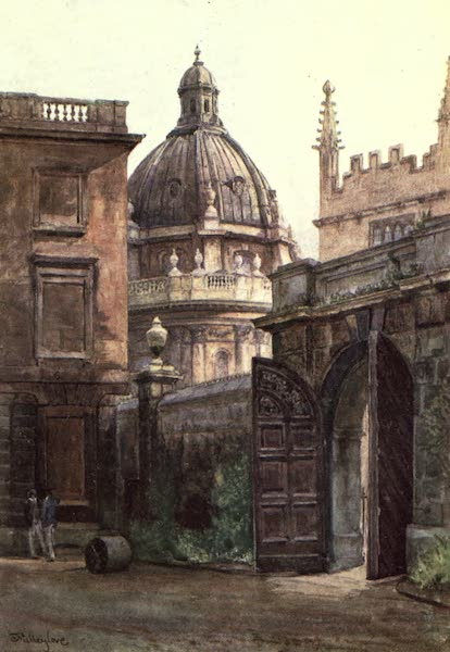 Oxford Painted and Described - Entrance Gateway of Hertford College and the Radcliffe Library - Mr. J. W. Taphouse (1903)