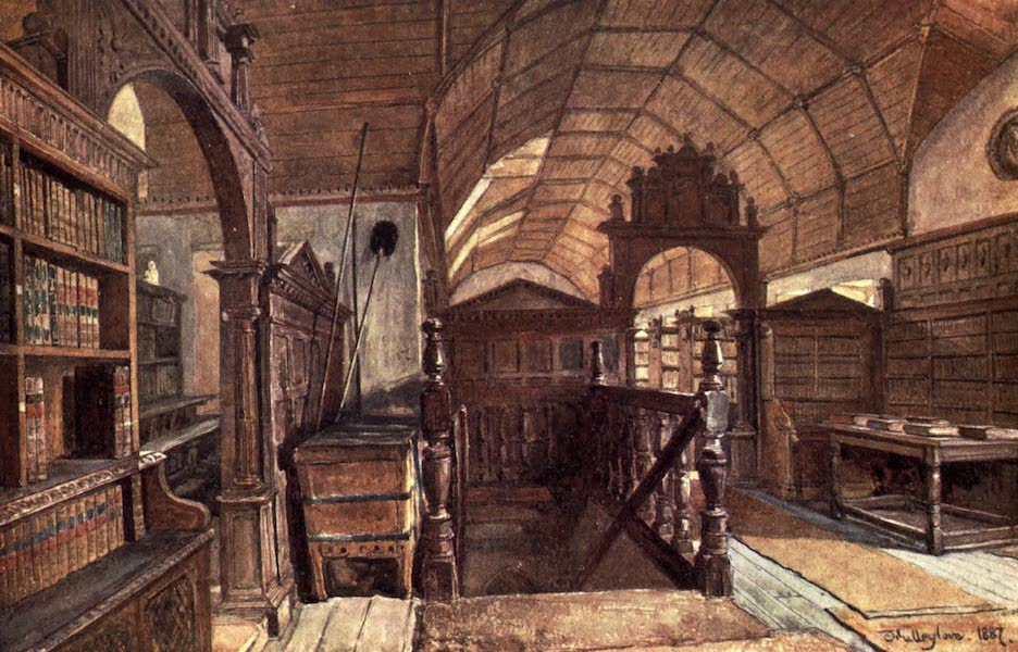 Oxford Painted and Described - Interior of the Library of Merton College - Mr. J. W. Taphouse (1903)