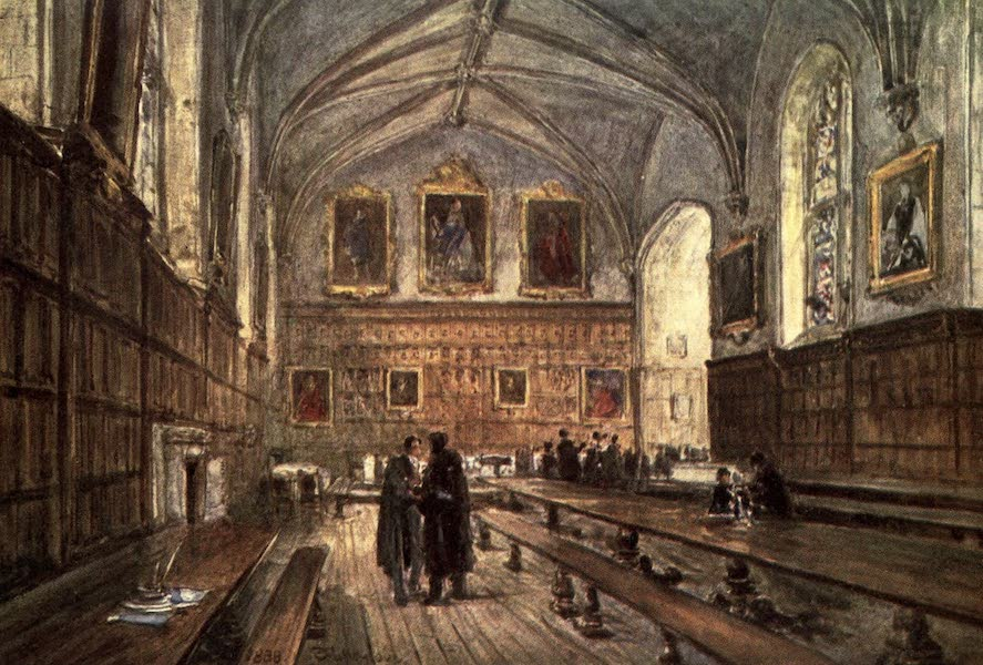 Oxford Painted and Described - Interior of the Hall, Magdalen College - Mr. James Orrock, R.I (1903)