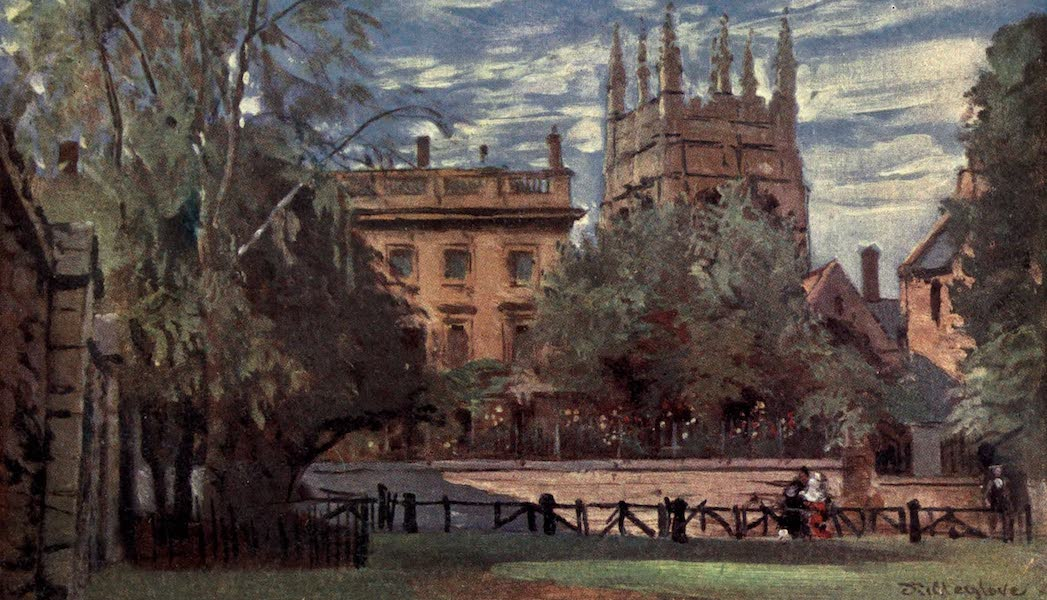 Oxford Painted and Described - Corpus Christi College and Merton Tower, from Christ Church Meadows - Mr. John Fulleylove, R.I (1903)