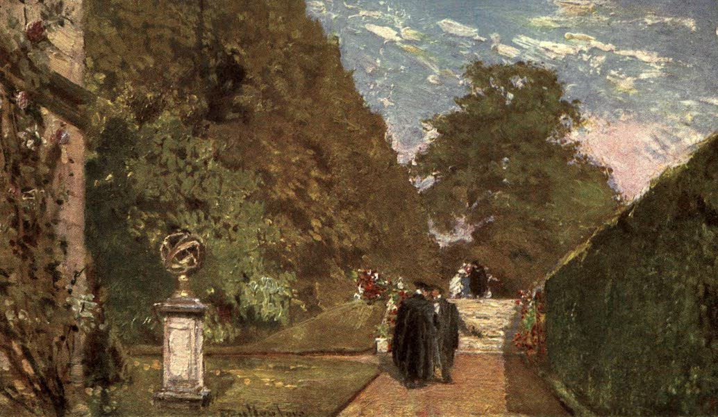 Oxford Painted and Described - The Fellows' Garden, Merton College - Mr. John Fulleylove, R.I (1903)