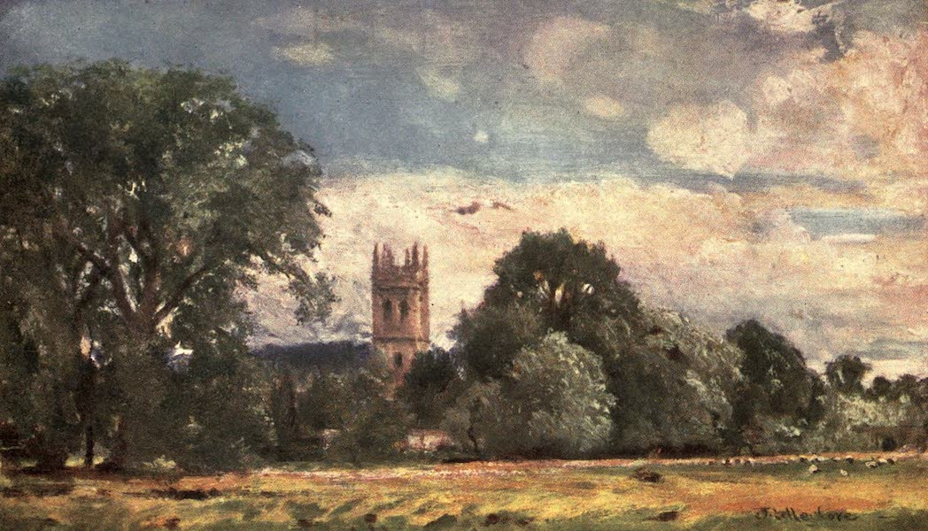 Oxford Painted and Described - Magdalen College Tower, from the Meadows - Mr. John Fulleylove, R.I (1903)