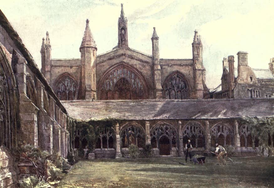 Oxford Painted and Described - The Cloisters, New College - Mr. James Orrock, R.I (1903)