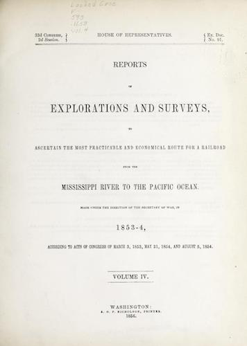 American Southwest - Pacific Railroad Survey Reports Vol. 4