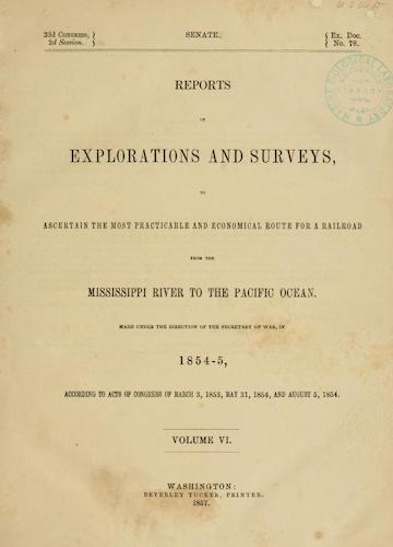 American Southwest - Pacific Railroad Survey Reports Vol. 6