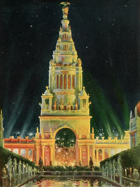 Panama-Pacific International Exposition - Central Tower Illuminated (1913)