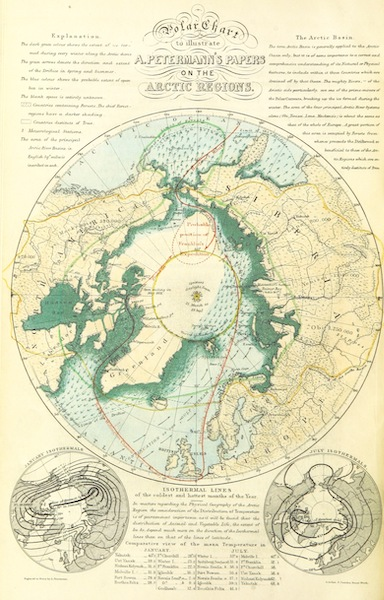 Papers and Despatches Relating to the Arctic Searching Expeditions - Polar Chart to Illustrate A. Petermann's Papers on the Arctic Regions (1852)